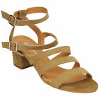 ladies sandals suede look womens block heel open toe shoes ankle strap summer