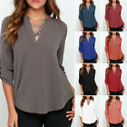 Hot Women V-neck Plus Size Tops Loose Long Sleeve T-Shirt Casual Blouse Fashion