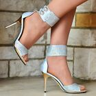 WOMENS ANKLE CUFF RHINESTONE DETAIL HIGH HEEL OPEN TOE SHOES SANDALS UK SIZE 3-8
