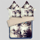 Maine Cat Kitty Animal Quilt Duvet Doona Cover Set Queen King Size Fitted Sheet