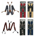 NEW 3.5cm Width Adjustable 6 Button Hole Leather Mens Suspenders Braces Solid