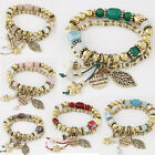 Bohemian Bracelets Bangles Gold Beads Charm For Women Jewelry Multilayer Bangles