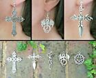 Pentacle Skeleton Dragon Cross Dagger Silver Earrings Pagan Goth Hypo-allergenic