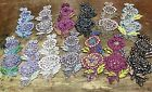 Embroidered 3-D APPLIQUE Flowers Leaves 3x7 Hand Sewn Glass Beads Sequins 1pc