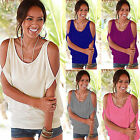 Womens Cut Out Shoulder Short Sleeve Tops Summer Beach Ladies Blouse T-shirts