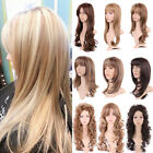 Women Full Wig Long Straight Curly Hair Heat Resistant Synthetic Wigs Fashion US