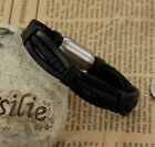 Genuine Black Leather Cool Bracelet Bangle Cuffs for Men Male Jewellery New UK