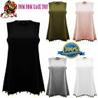 New Ladies Girls Pom Pom MultiColour Lace Plain Sleeveless Summer Top Dress 8-14