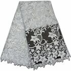 WHITE ELEGANT FRENCH EMBROIDERED GUIPURE MESH FLORAL BRIDAL LACE FABRIC 5YDS LOT