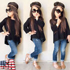 Toddler Baby Kids Girls Outfit Long Sleeve T-shirt Tops Jeans Pants Clothes Set
