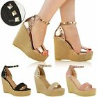 Womens Ladies Studded High Wedge Heels Sandals Summer Platforms Party Shoes Size
