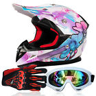 DOT Unique Unisex Motorcycle Helmets + Goggles+Gloves Off-Road 2 Colors UC913