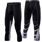 Men Compression 3/4 Pants Workout Gym Sports Jogger Running Cropped Black Tights