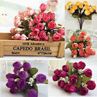 15 Heads Artificial Silk Rose Flowers Bouquet Wedding Party Home Decors DIY