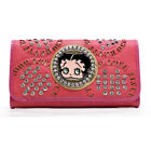 Betty Boop Embroidered red gown Gray white Rhinestones L Women Checkbook Wallet $19.98 USD