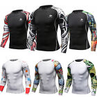 Mens Athletic Gym Compression T Shirts Cycling Sports Workout Tights Stretchy