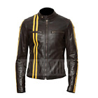 Men's Big & Tall Cafe Racer / Moto Black Leather Jacket with Stars and Stripes