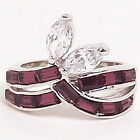 Purple Ice Clear Engagement White Gold Ring Size 6 7 8 New Gift Cocktail Fashion