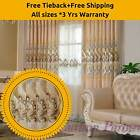 Creamy*Beige*White Bedroom Curtains Design Fabric Drapes+Sheer Eyelet Rod Pocket