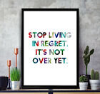 "Beyonce Poster Print ""Stop Living in Regret"" Positive Quote Bedroom Wall Art"
