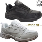 MENS NEW REAL LEATHER WIDE FIT WALKING GYM SPORTS TRAINERS CASUAL DRIVING SHOES