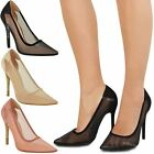 Womens Ladies High Heel Pointed Toe Mesh Courts Pumps Party Celeb Shoes Size UK