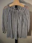 PETITE BLACK WHITE HOUNDSTOOTH SILK BLOUSE 2 PC. TALBOTS PS 4P 6P $119