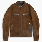 Men's Brown Real Suede Blouson Leather Jacket