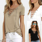 US Summer Women Summer Short Sleeve Loose T-Shirt Casual Blouse Shirt Top HX