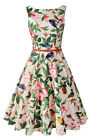 Sleeveless Audrey Hepburn Vintage Tea Dress with Belt Women 1950s Swing Sundress