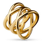 Double X Rose Gold IP Stainless Steel Ring Fashion Jewelry R026