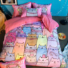 Pink Cat Animal Single Queen King Size Quilt/Duvet/Doona Cover Set Sheet Fitted