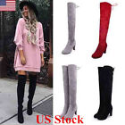 US New Womens Suede Over The Knee Boots Block High Heel Lace...