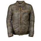 Men's Distressed Brown Triple Stitch Detailing Cowhide Motorcycle Leather Jacket