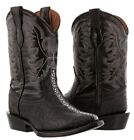 Veretta Exotic Stingray Cowboy Boots Black Embossed Print Western Rodeo