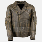 Men's Distressed Brown Triple Stitch Detailing Double Rider Real Leather Jacket