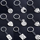 Heart Love Fathers Day Mothers Gift Paws Pet Dog Keyring Family Keychain Silver