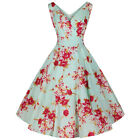 Pretty Kitty Mint Green Floral Vintage Rockabilly Swing Cocktail Party Dress