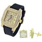 Mens Iced Out Gold Plate Watch Techno Pave Simulated Diamonds Solitaire Earrings