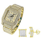 Hip Hop Iced Out Watch Roman Number Dial 14k Gold Tone Earrings Screw Back Bling
