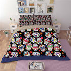 Colordul Skull Quilt Duvet Doona Cover Set Single Queen King Size Fitted Sheet