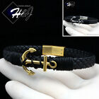 "7.25""/8.25""MEN WOMEN Stainless Steel 10mm Silver/Black/Gold Leather Bracelet*B87"