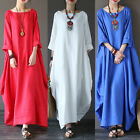 Women's Crew Neck Loose Casual Solid Color Line Cotton Long Maxi Dress Plus Size