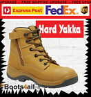 Hard Yakka Granite Mens Work Boots Lace Up Wheat Steel Toe Zip Sided Y60126