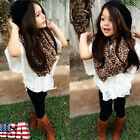 Toddler Kid Girl Outfit Leopard Scarf Vest Batwing T-shirt Top Pants Clothes Set