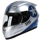 Torc T10 Prodigy Silver Fighter Full Face Motorcycle Helmet