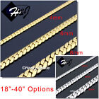 "18-40""MEN Stainless Steel 4/6/8mm Silver/Gold Miami Cuban Curb Chain Necklace"