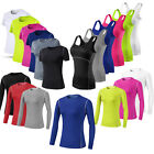 Women Athletic Workout Running Yoga Compression Stretchy Quick-dry T shirt Vest
