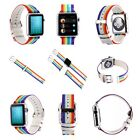 Fashion Rainbow Colorful Leather+Fabric Watch Band Strap For Apple Watch 38/42MM
