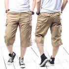 Mens Summer Loose Casual Cargo Military Dungarees Pants Sports Trousers Shorts